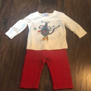 Hanna Andersson Winter Mouse pant set 6-12 months